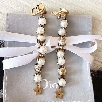 DIOR CD Fashion Women New Pearl Bee Star Sterling Silver Long Ea 674a3ecf4