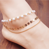 New Fashion jewelry Chain Gold Tone Love Heart Foot Jewelry Heart Anklets for Women Girl (With Thanksgiving&Christmas Gift Box)