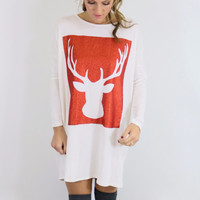 Reindeer Games Ivory & Red Reindeer Tunic Dress