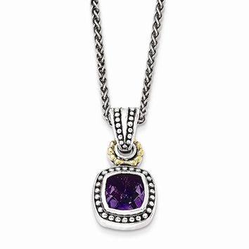 Sterling Silver w/14k Gold Antiqued Amethyst Necklace