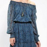 Urban Outfitters - Staring At Stars Smocked Chiffon Off-The-Shoulder Dress