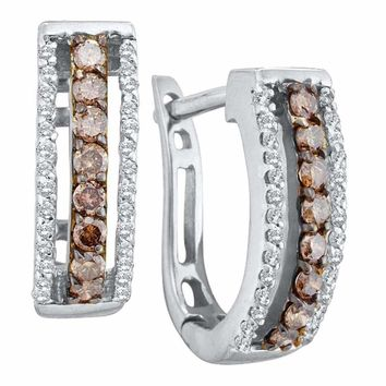 14kt White Gold Women's Round Cognac-brown Color Enhanced Diamond Triple Row Huggie Earrings 3-8 Cttw - FREE Shipping (US/CAN)