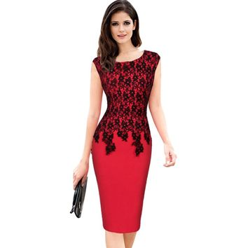 Elegant Round Collar Lace Spliced Color Block Bodycon Dress for Women