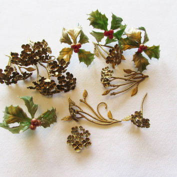 Vintage Holly Berry and Gold Flower Picks