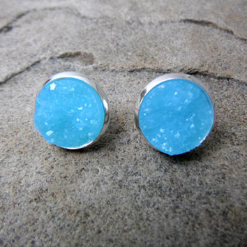 Blue Druzy Earrings, Blue Earrings, Crystal Earrings, Faux Druzy Earrings, Blue Gemstone Earrings, Stone Earrings, Druzy Stud Earrings