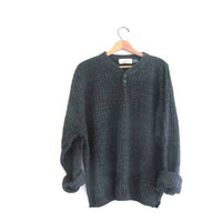 vintage slouchy sweater. oversized charcoal gray sweater. henley pullover shirt. size XXL