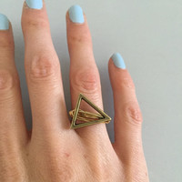 Metal Triangle Ring wire wrapped