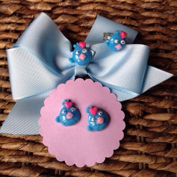 Blue Angry Birds Hair Bow Set Matching Earrings