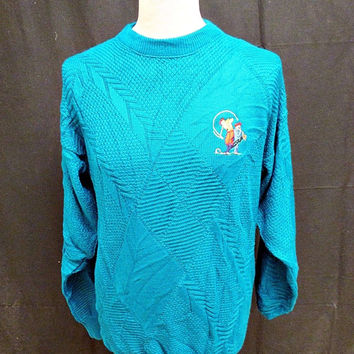 Vintage 80's Jantzen Blue Golf Pro Indie Jumper Sweater Medium