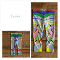 Stretch baby leggings for girl 6 months to 3 years old Made of eco-spandex performance fabric Pattern of Lines and colors
