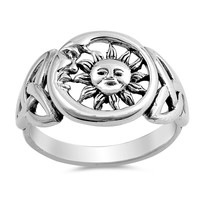 Sterling Silver Women's Ring Moon and Sun 14MM