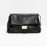 & Other Stories | Fold-Over Leather Clutch | Black