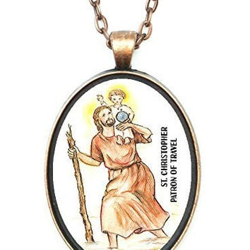 St Christopher Patron Saint of Travel Huge 30x40mm Antique Copper Pendant with Chain Necklace