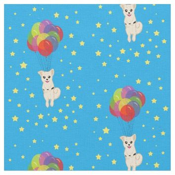 Puppy with Balloons Fabric