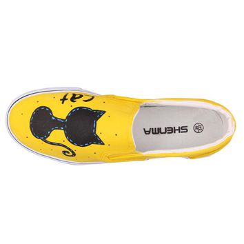 Women's Shoes Cartoon Anime Hand Painted Canvas Shoes  Pedal Shoes Loafers