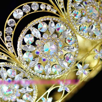Men's King Crown Queen Austrian Rhinestones Wedding Tiaras Crowns