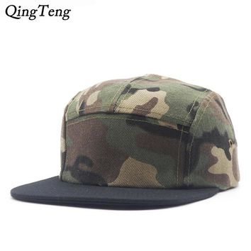 Trendy Winter Jacket 5 Panel Cap Camo Snapback Hats Snapbacks Straight Flap Baseball Cap Outdoor Brand Army Camouflage Hat 2017 Men Women Hip Hop Cap AT_92_12