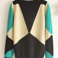 Pop Art Retro Geometric Pattern Collar Loose Sweater