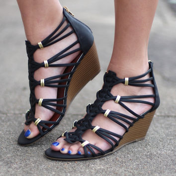 Madden Girl: Hoistt Caged Sandal Wedges {Black}