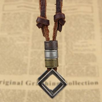 Charming Jewelery Fashion Personality Hollow Block Cow Pu Leather Cord Pendant Necklace Bronze Color