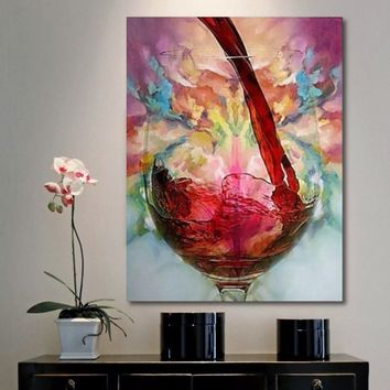35.43''X 23.62'' Fashion Abstract Hand Painted Painting on canvas-Still Life Red Wine Glass  Abstract Decoration (No Frame)