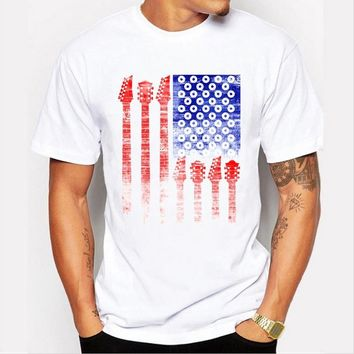 Summer new men \s fashion tops personality simple flag printing T - shirt short - sleeved white T - shirt