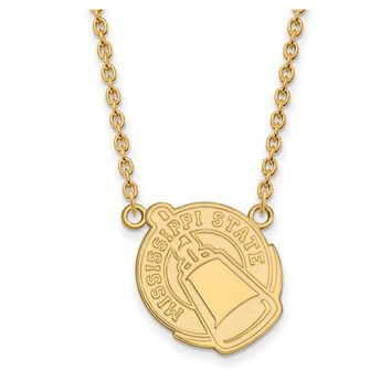 NCAA 14k Yellow Gold Mississippi State Lg Logo Pendant Necklace
