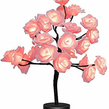 Home Room Decor 24LEDs Flower Rose Tree USB/Battery Operated Gift for Women Teens Girls Table Lamp for Party Wedding Christmas Indoor Outdoor