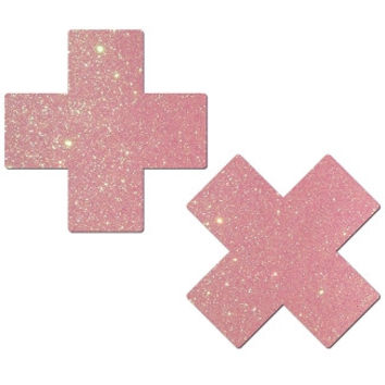 Baby Pink Glittery Cross Pasties