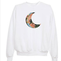 Tumblr Transparent Crescent Floral Moon Sweatshirt