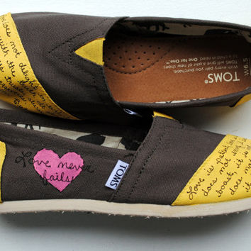 Womens Love Bible Verse Hand Painted TOMS, Ash Gray Toms with Bright Yellow, 1 Corinthians 13, Custom hand painted shoes