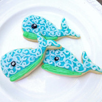 Nautical Whale Sugar Cookie Iced Decorated Cookie Ahoy It's A Boy Baby Shower