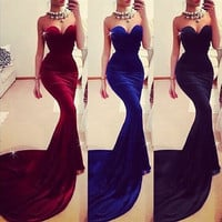 Women's Sexy Full Length Sleeveless Off-shoulder Fishtail Formal Evening Dresses Party Gown W_C = 1956532612