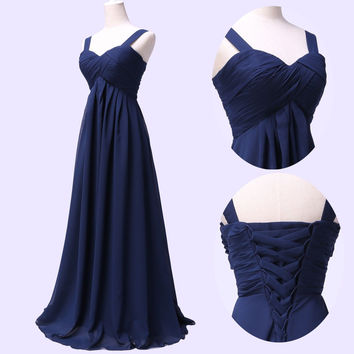 Straps Long Simple Blue Prom Dresses