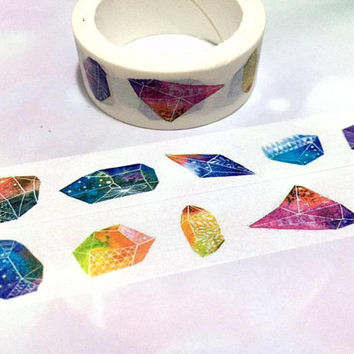 crystal gemstone washi tape 5M raw crystal raw stone colorful diamond masking tape vintage Jewelry diamond shape jewellery stone sticker