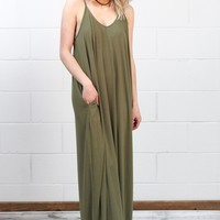 Comfy Basic Strap Maxi Dress w/ Pockets {Olive}