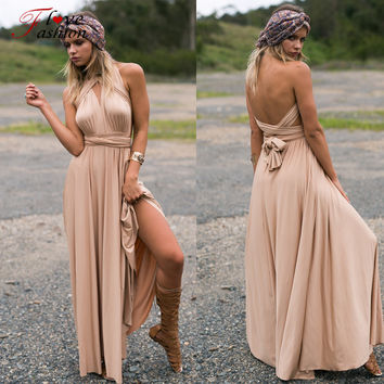 Women Maxi long dress multi Wrapped Bridesmaids Dresses Convertible robe longue