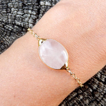 Rose Quartz Bracelet 24K Gold Pink Oval - Free Shipping Jewelry