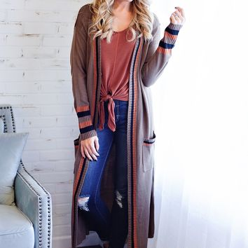 * Lexington Varsity Sweater Duster - Taupe