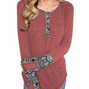 BLENCOT Women's Long Sleeve Floral Printed Casual Flare Henley Shirts Tunics Tops-Red Small