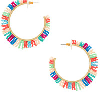 Rebecca Minkoff Spikey Fringe Hoop in Gold & Bright Multi | REVOLVE