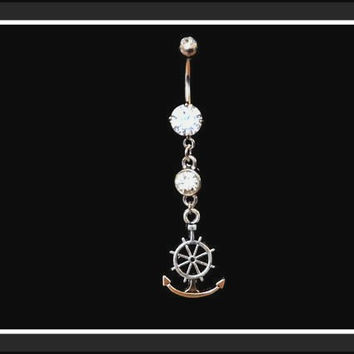 Anchor Belly Ring on White Rhinestone Belly Ring Body Jewelry