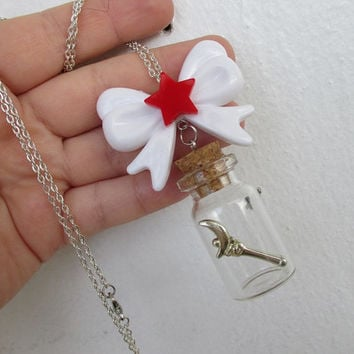 Sailor Moon Necklace - Bow & MOON CRESCENT Wand, in a bottle - Sailor Scout Jewelry