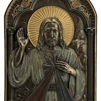 A Veronese Divine Mercy plaque in lightly hand-painted cold cast bronze, can stand or hang, 6x9inches