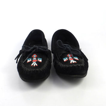 Black Minnetonka Moccasins Vintage 1980s Thunderbird Beaded Leather Slip on Shoes Suede