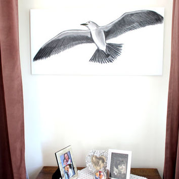 "19""x39"", Big Original Charcoal Seagull Painting, Charcoal pencil on canvas, Office wall art, Large size, Pencil Drawing, Fathers Day Gift"