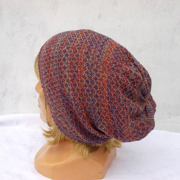 Knitted blue orange cotton hat knit summer cotton cap multicolor lace cloche colorful slouche knitted women beanie accessories knitting tam