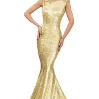 Gold Sequined Mermaid Dress