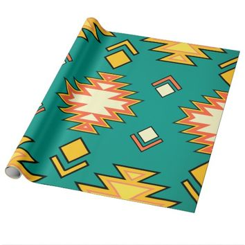 Golden Green Traditional Aztec Wrapping Paper