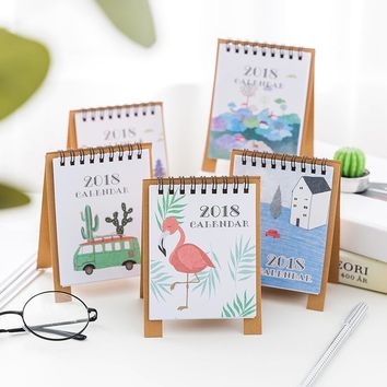 2018 year New Fresh Style DIY Cartoon Mini Desktop Paper Calendar Daily Scheduler Table Planner Yearly Agenda Organizer notebook